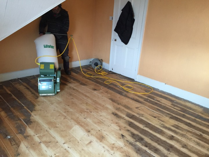 sanding floors with specialist equipment in Devon